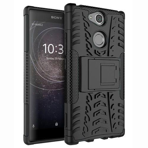 Dual Layer Rugged Tough Shockproof Case for Sony Xperia XA2 - Black